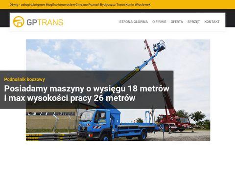 Gptrans.com.pl usługi dźwigiem podnośnikiem