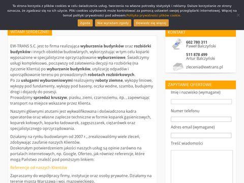 Ewtrans.pl - rozbiórki budynków, roboty ziemne